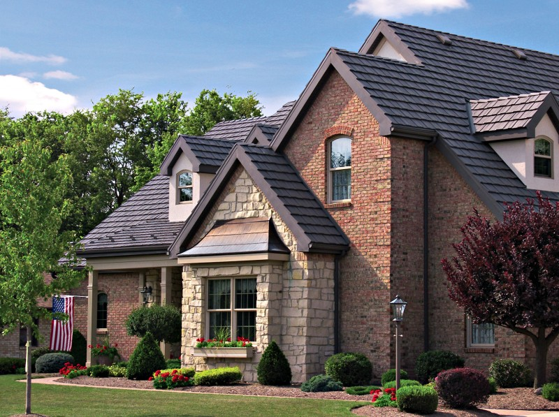 Because of aluminum's high emissivity and the highly reflective PVDF coating technology used by Classic Metal Roofing Systems, Country Manor Shake (pictured here in Mustang Brown) can save you up to 25% on your energy bills for the rest of your life.  The four-way interlocking panels will also withstand hurricane strength winds and hail. -