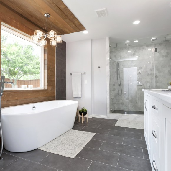 Contemporary bathroom remodel with Ipe wood accent wall contemporary bathroom design and remodel by Joseph & Berry