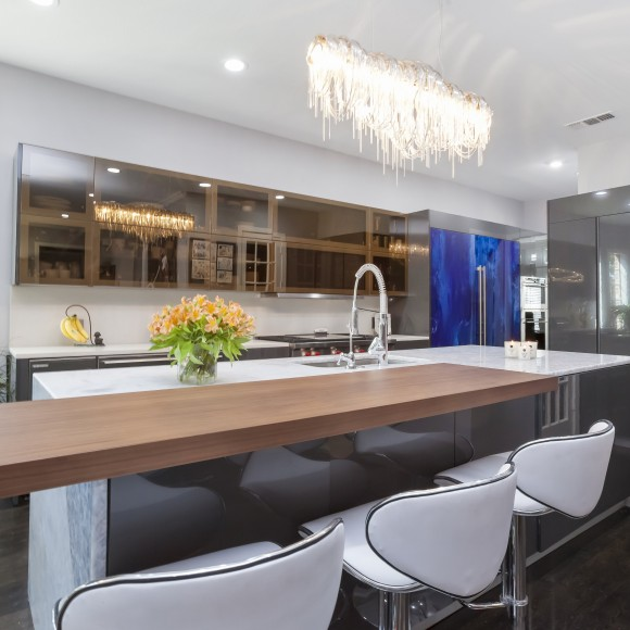 Ultra-modern kitchen remodel European kitchen design with lacquer finish and glass doors