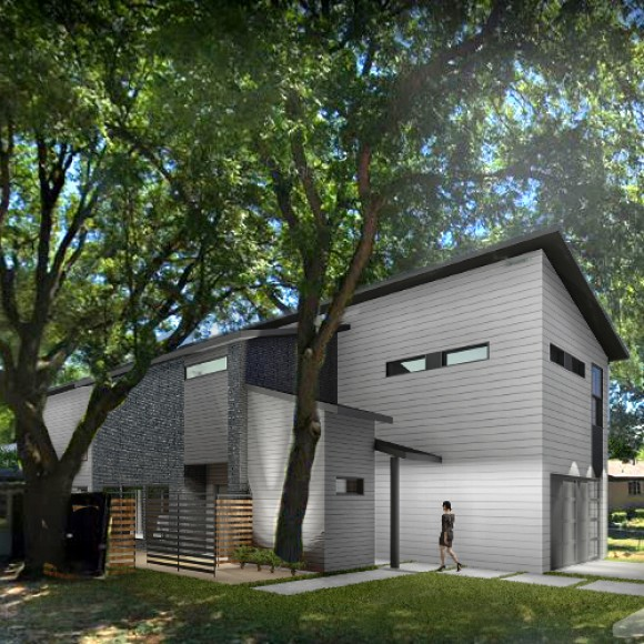 M2 House is an a house in Dallas, TX. that uses the simplest materials in current residential and applies it in a Modern form.  The concept is to provide cost-effective solutions to modern day families.