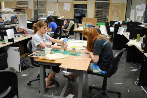 Working late in our studio during my second year of school.