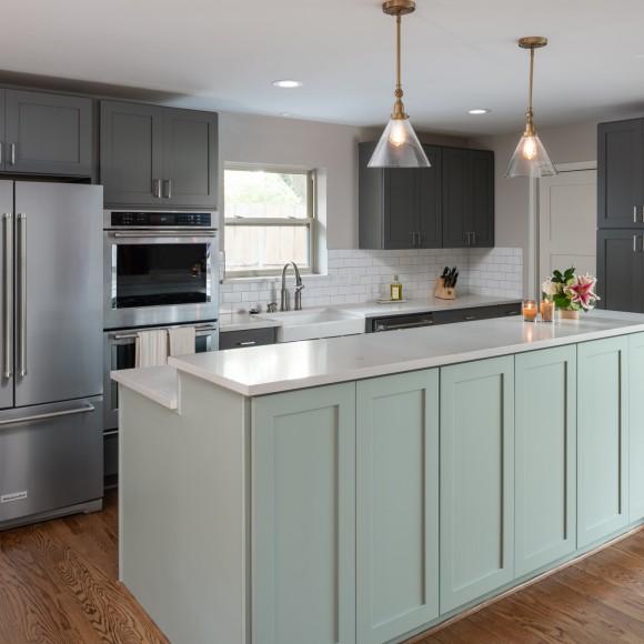 Contemporary kitchen remodel with feminine kitchen island kitchen remodel in Dallas with pastel kitchen island