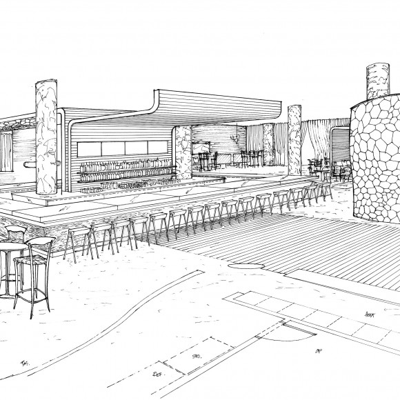 Winners Lounge & Bar - Perspective Drawing