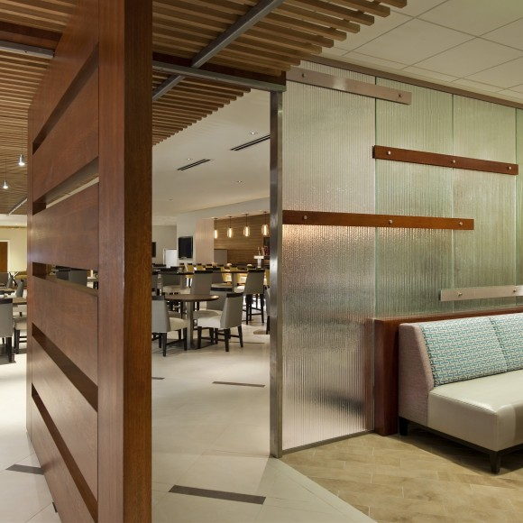 Sheraton Dallas North Hotel by the Galleria - Lobby Bar, Restaurant Entry. Interior Architectural Design Consultant for Michelle Meredith & Associates.