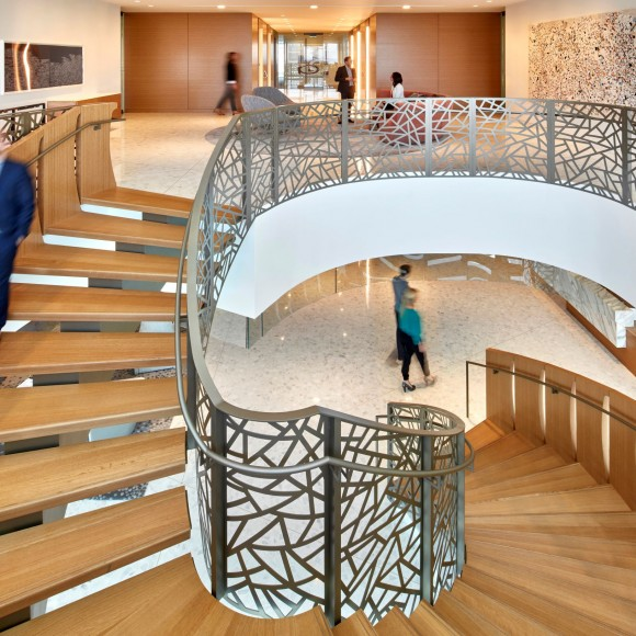 Foley Gardere, an Am Law 200 firm, was moving from their dated Thanksgiving Tower space to the new McKinney & Olive building in Uptown, and used the opportunity to modernize their image. A clean, sleek look permeates the space, which focuses on the evolving need of their clients and a younger demographic of attorneys. Garrett Rowland
