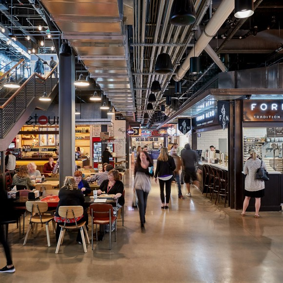 Legacy Hall and Box Garden: Dedicated to serving the best-of food trends prepared by premier chefs and local artisans, the three-story, 55,000-square-foot European-style food hall, brewery and live music and entertainment venue opened its doors in 2017 in the Legacy West development. Garrett Rowland