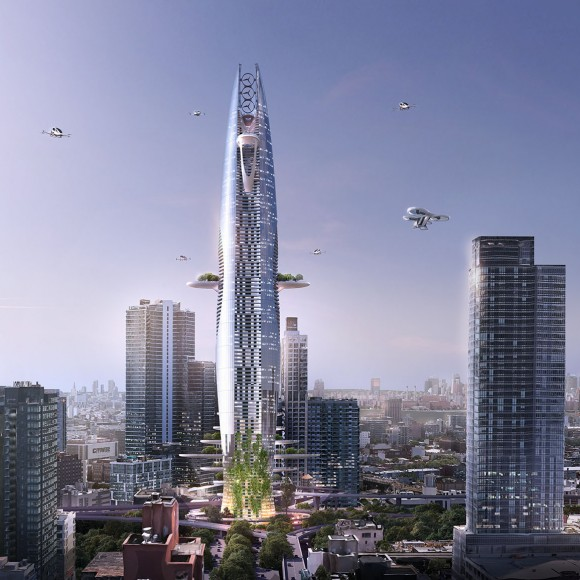 "Titled ""The Vertical Sustainable City,"" the skyscraper concept is an expression of the opportunities and constraints urbanistic contexts present to architects. Juxtaposing the idea of a sprawling, urban development, the vertical shape of the tower is a direct response to minimizing the structure's footprint."