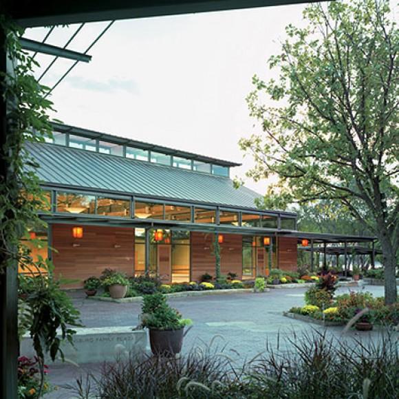 Dallas Arboretum Visitor Center with Lake Flato