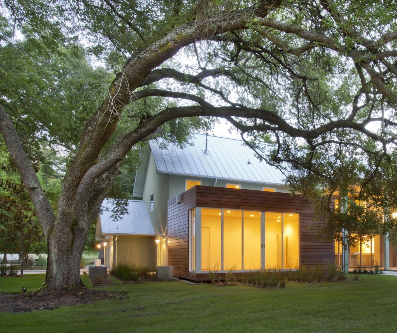 Under the Oak Tree: The guest room is tucked under a majestic live oak tree.  The modern addition clad with an ipe rain-screen hovers over the tree's delicate root system - supported with a series of coil footings.  The room's orientation and corner window system, allow guests to literally sleep under the oak tree.