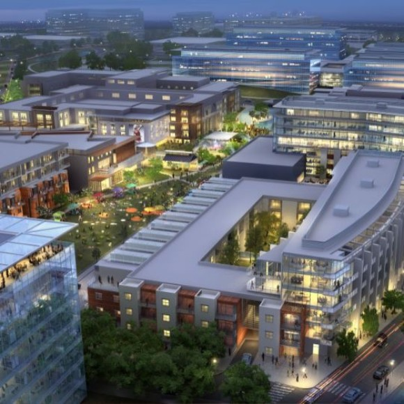 Built to improve quality of life at a telecommunications company's existing 25-year-old campus, the new 150-acre Hidden Ridge Mixed Use development blends three large corporate campuses with a central mixed-use neighborhood composed of housing, retail, boutique offices, and a village commons - all connected to neighboring developments by lightrail transit.